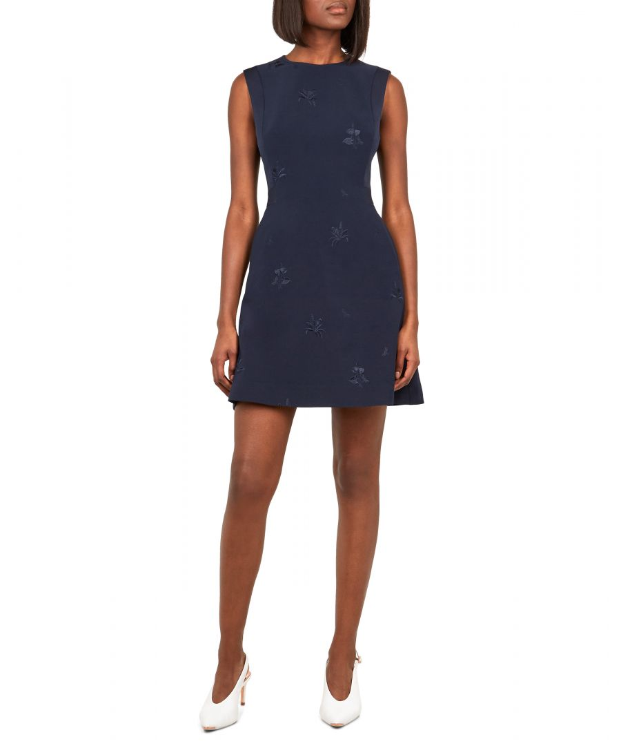 Image for Ted Baker Saahrad Embroidered Shift Dress, Navy