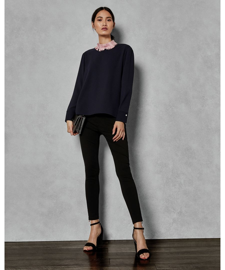 Image for Ted Baker Wilmma Ruffle Collar Drop Hem Top, Dark Blue