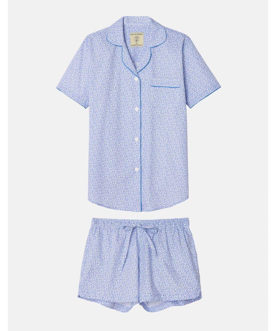 Image for British Boxers Women's White Paisley Short Pyjama Set