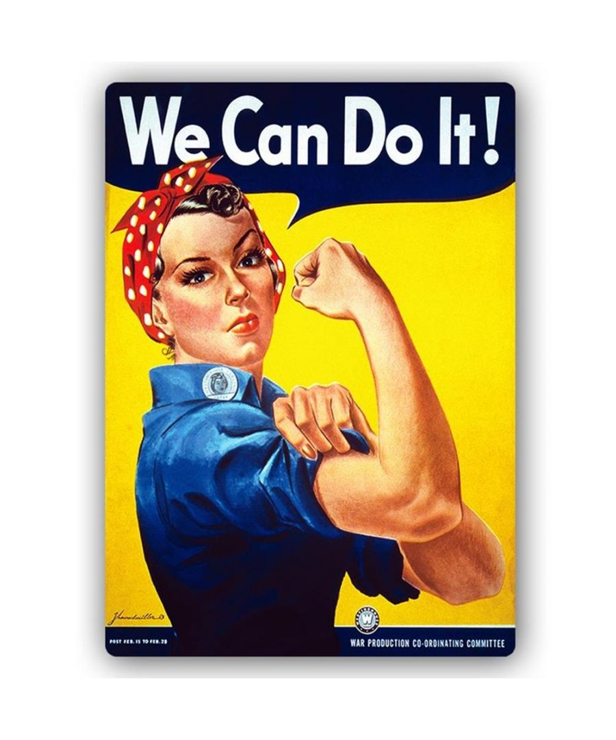 Image for Vintage War Propaganda Poster - Metal Print  - We Can Do It! - Rosie The Riveter