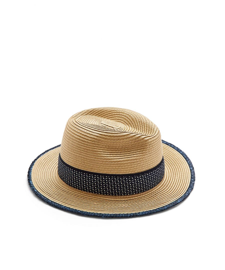 Image for Ted Baker Fadoraa Straw Fabric Banded Fedora, Natural