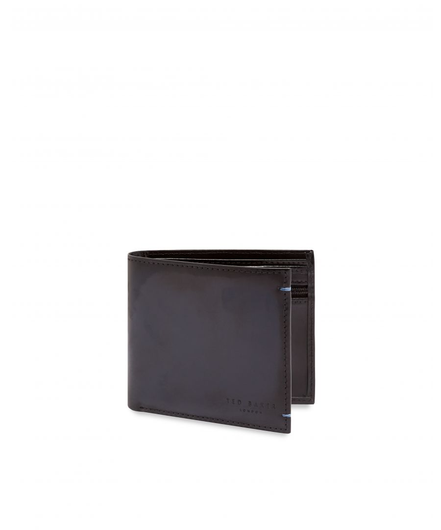 Image for Ted Baker Geen Burnished Leather Bifold With Coin, Navy