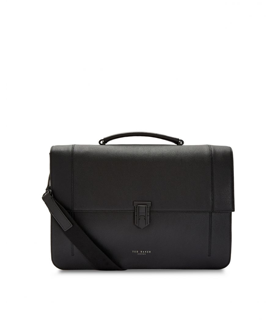 Image for Ted Baker Aggro Padlock Leather Satchel, Black