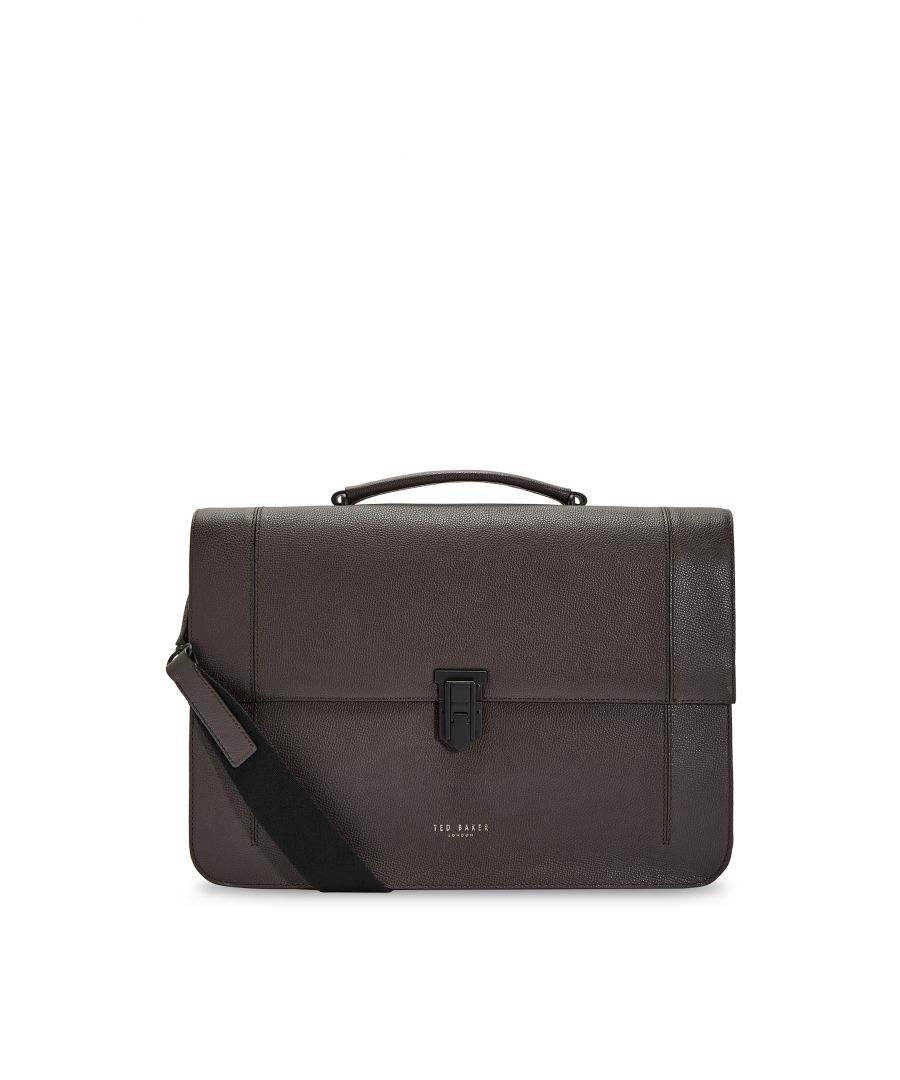 Image for Ted Baker Aggro Padlock Leather Satchel, Chocolate