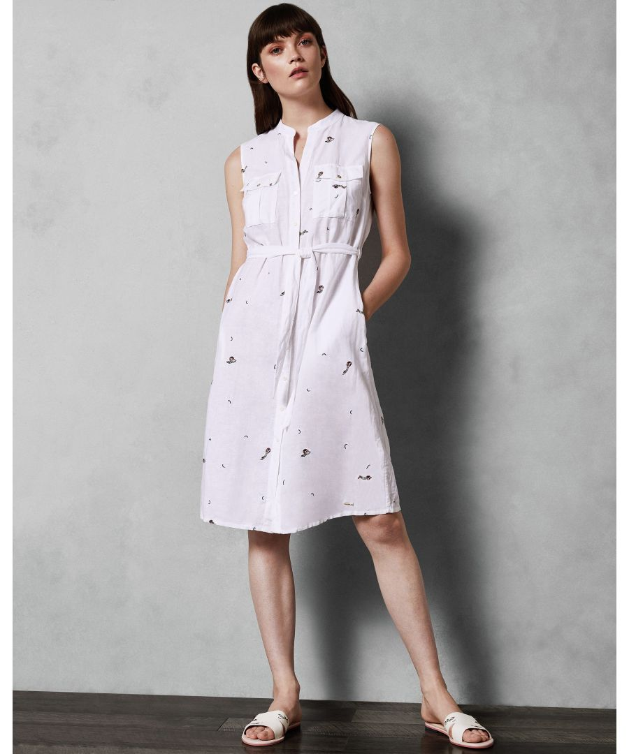 Image for Ted Baker Xxena Embroidered Swimmers Shirt Dress, Ivory