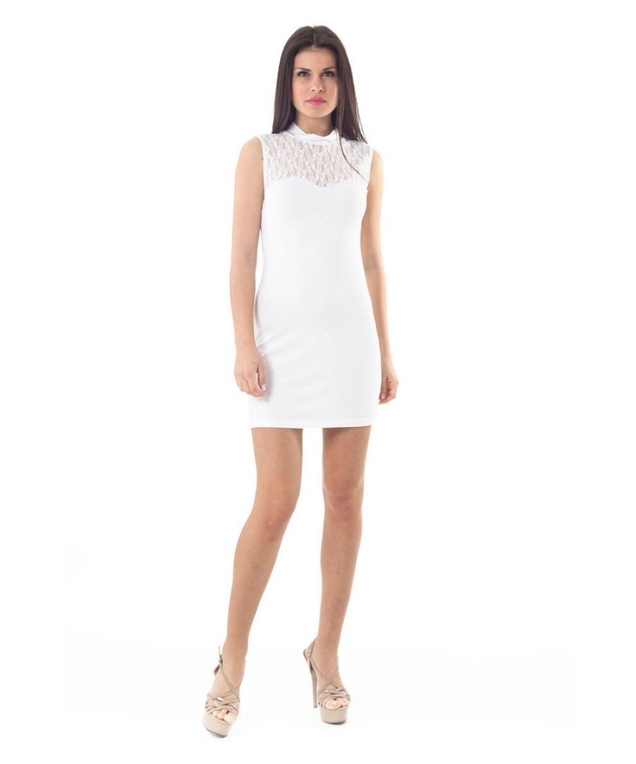 Image for Lace Detail Stretch Mini Dress in White