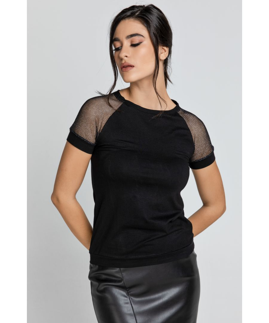 Image for Black Jersey Top with Net Sleeve Detail
