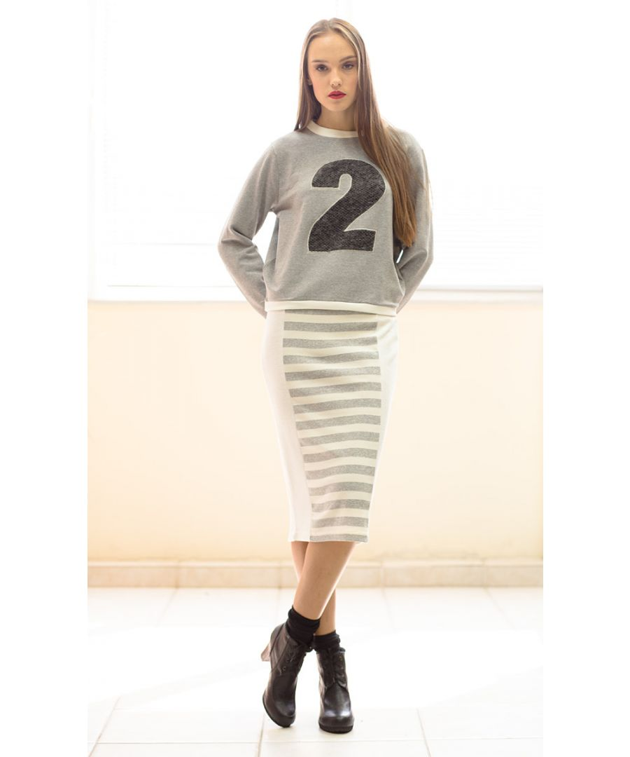 Image for Ecru and Grey Striped Pencil Skirt