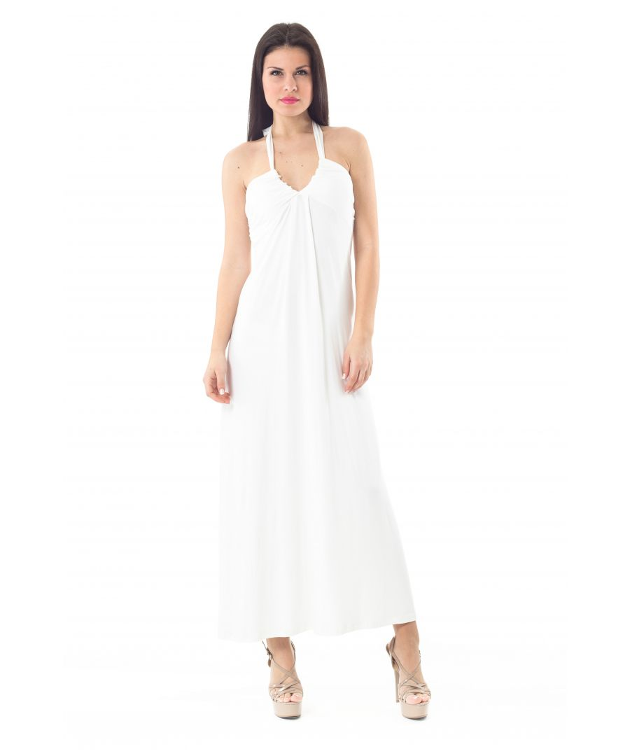 Image for Halter Neck Maxi Dress in White