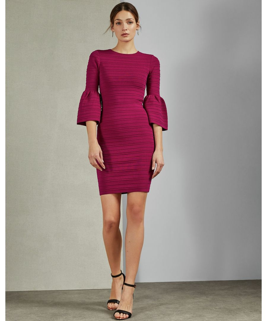 Image for Ted Baker Yansiaa Bell Sleeve Bodycon Dress, Deep Pink
