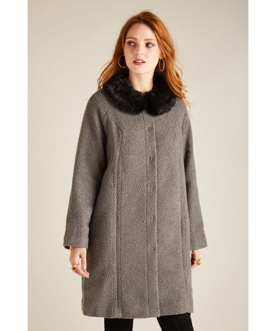 Image for COAT WITH DETACHABLE FAUX FUR COLLAR