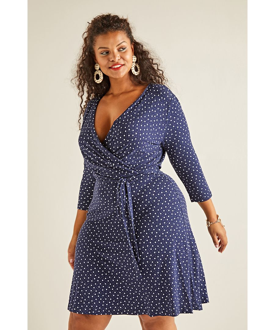 Image for Spot Print Jersey Wrap Dress