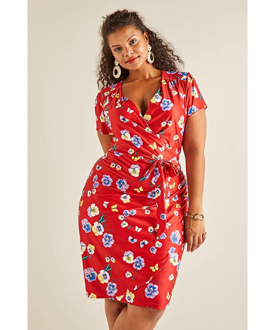 Image for Pansy Print Wrap Dress