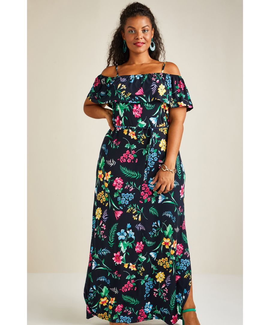 Image for Tropical Printed Jersey Maxi