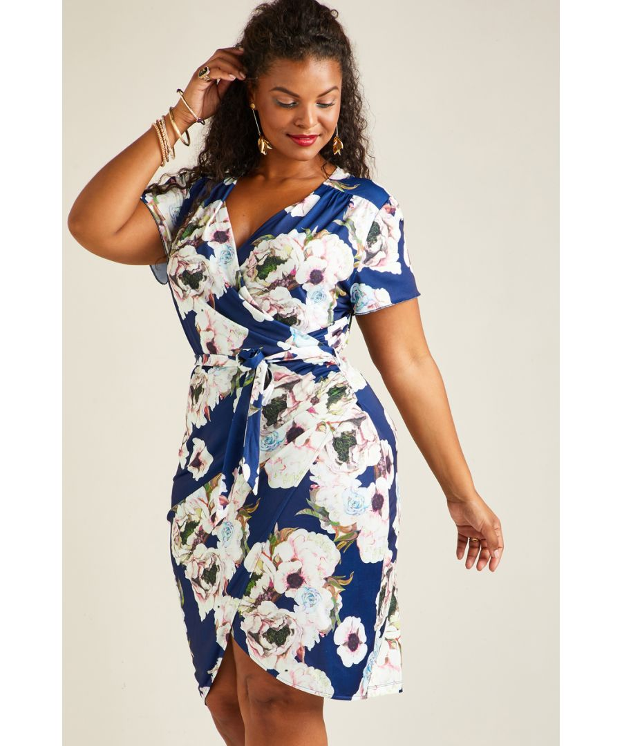 Image for Navy Yumi Curves Floral Wrap Dress