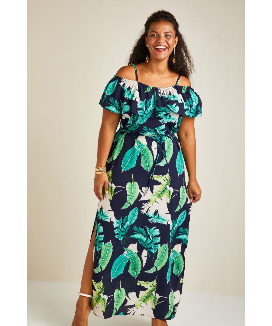 Image for Palm Print Maxi Dress With Side Splits