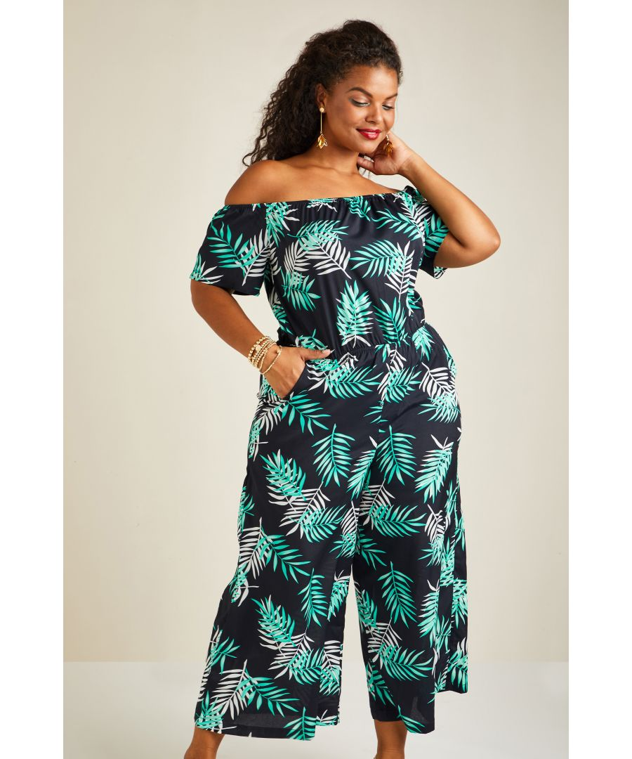 Image for Palm Print Bardot Jumpsuit