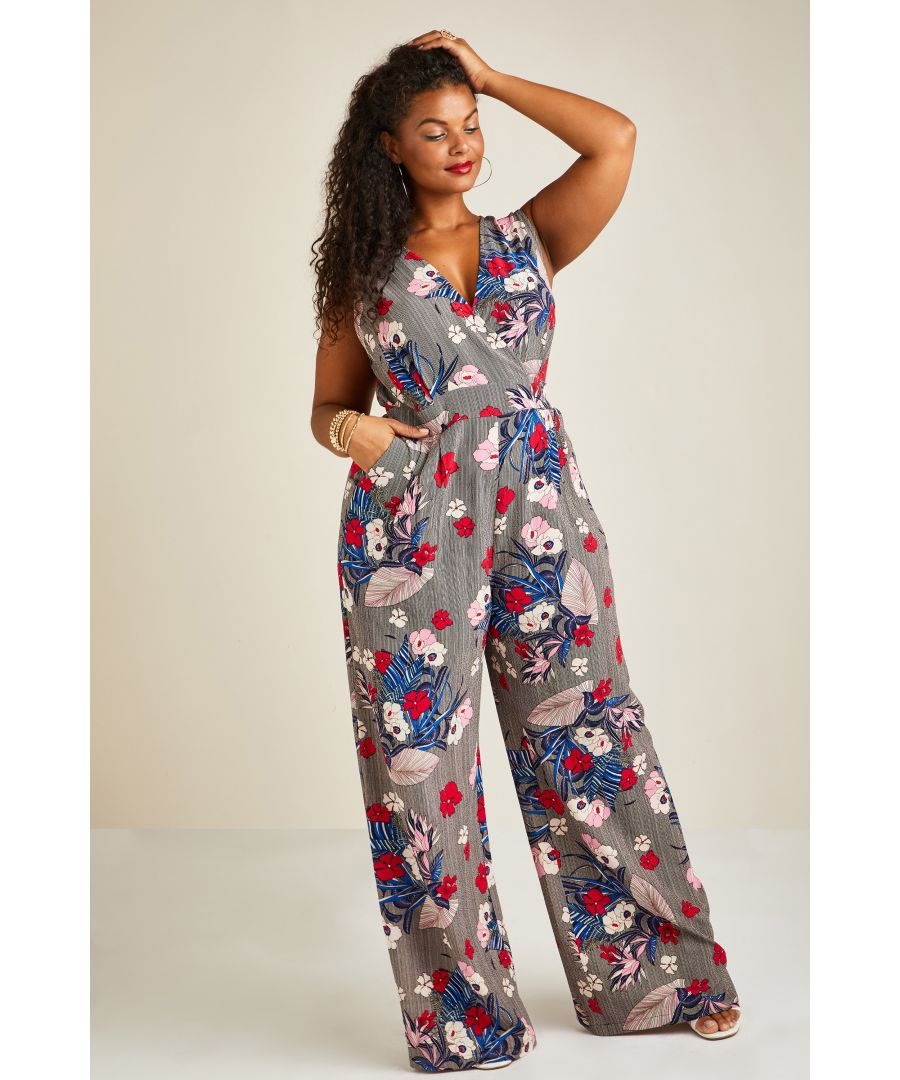 Image for Stripe And Flower Wrap Jumpsuit
