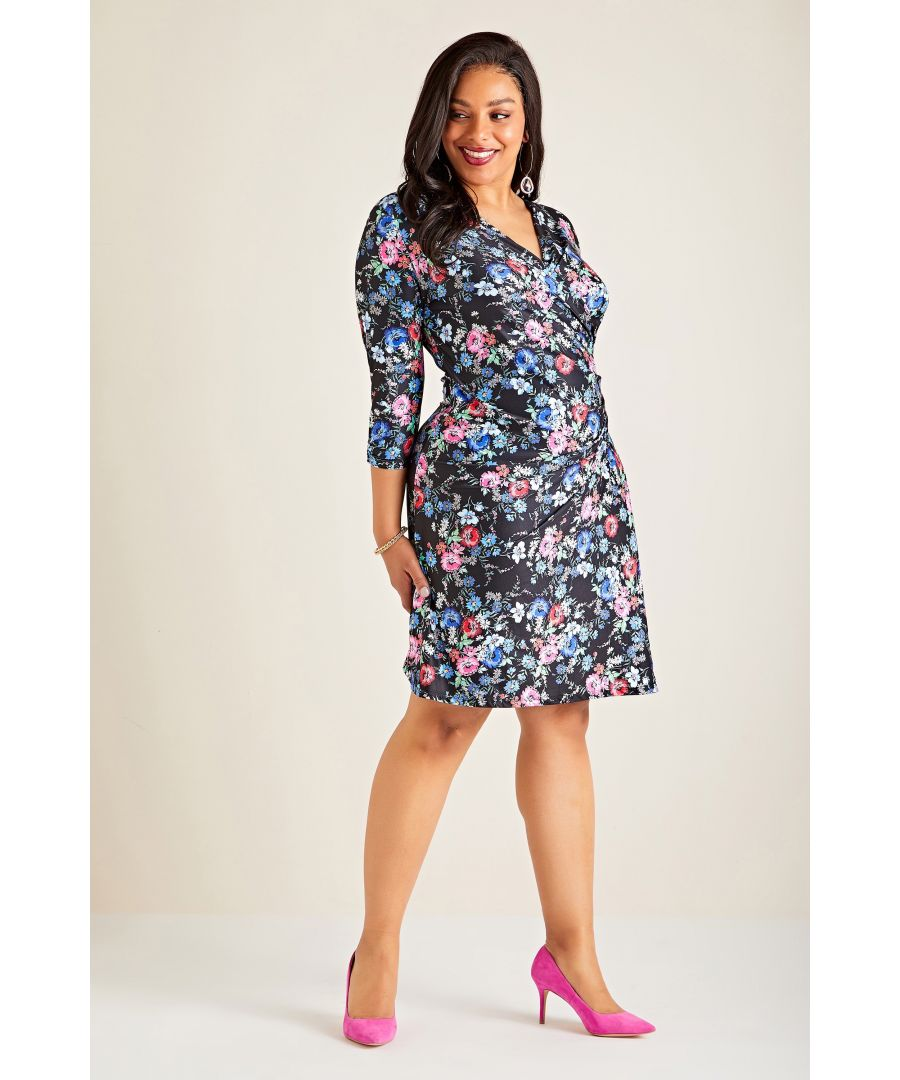 Image for Black Yumi Curve Midnight Daisy Print Wrap Dress
