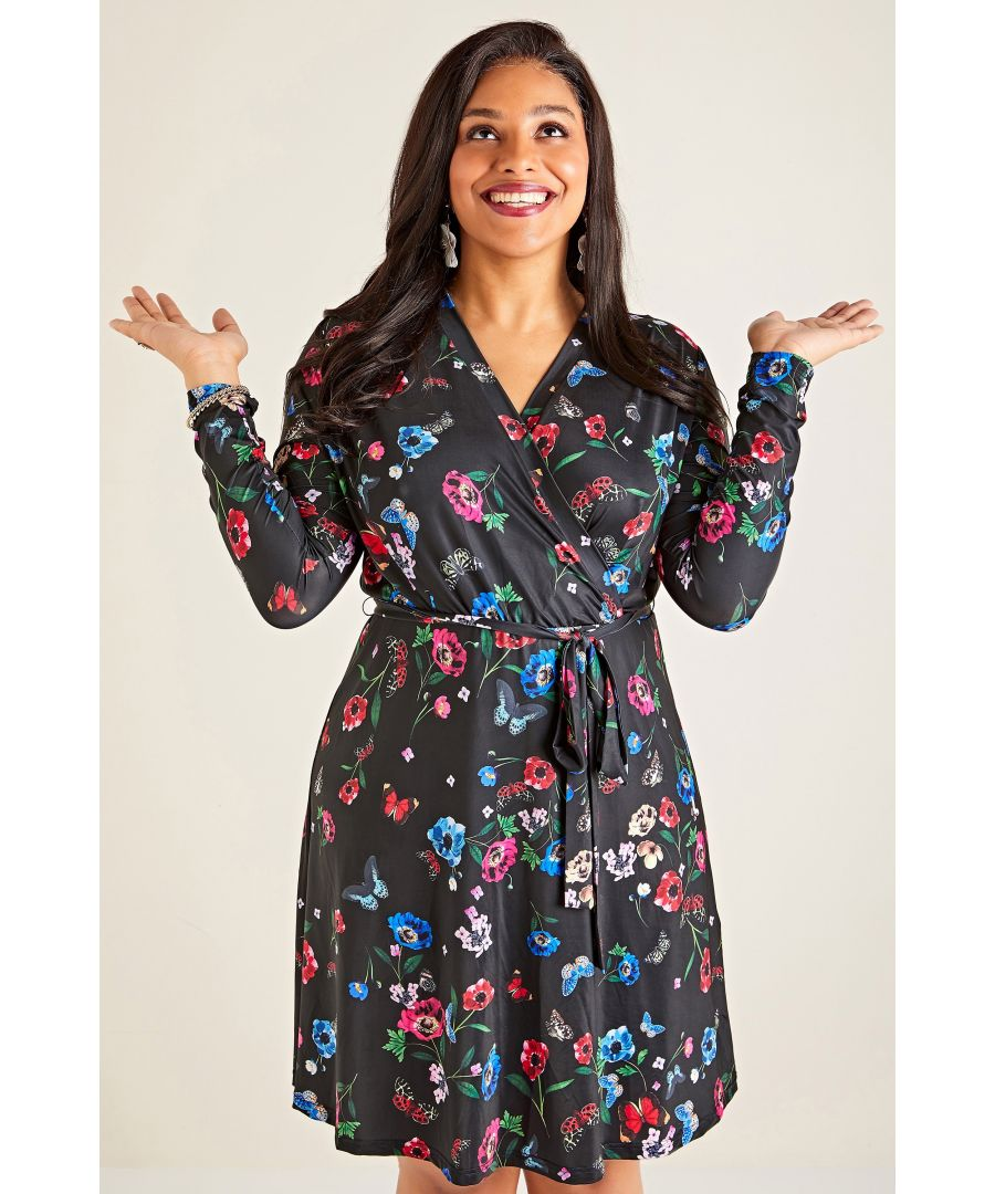 Image for Black Yumi Curve Butterfly And Poppy Print Wrap Dress