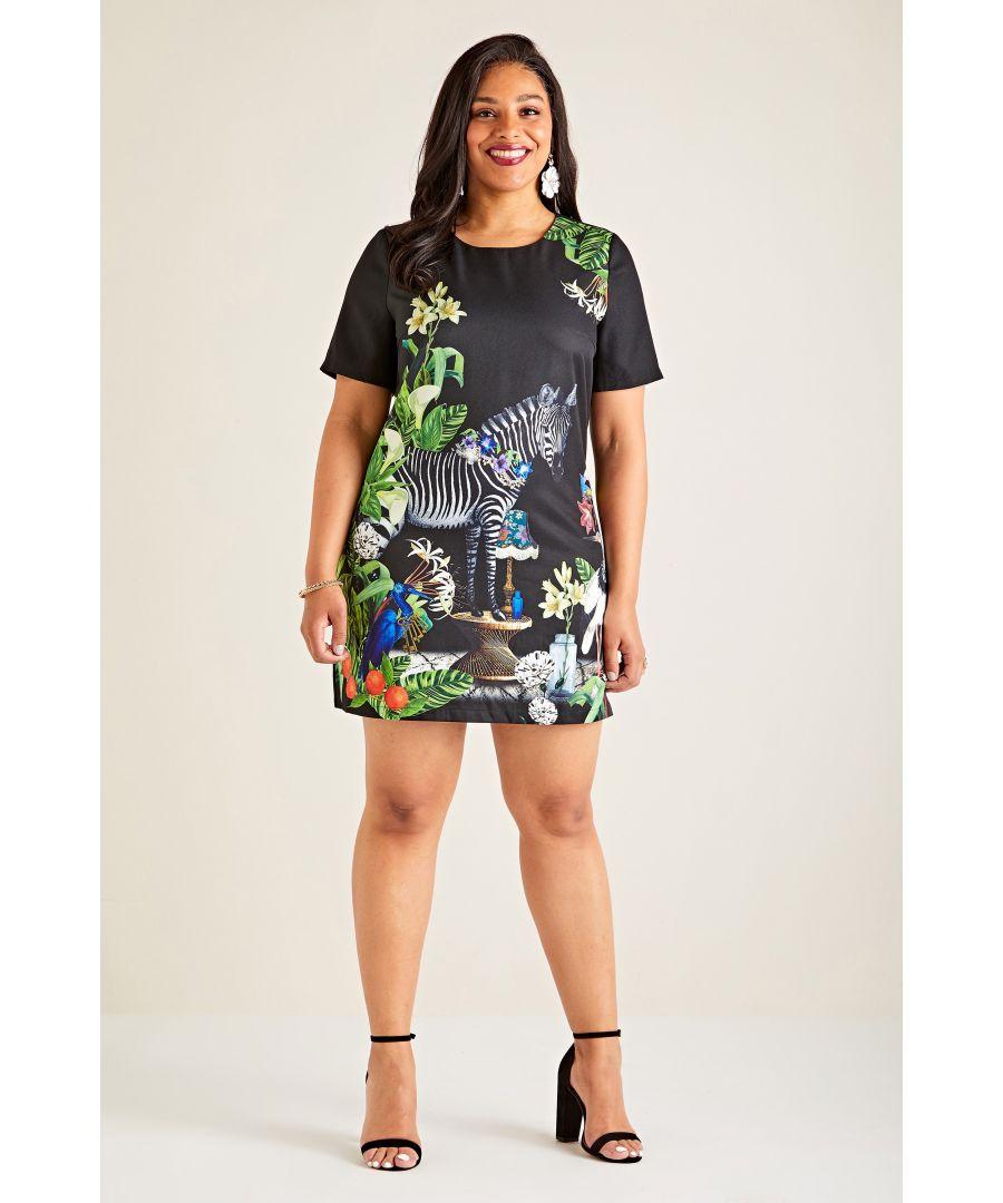 Image for Black Yumi Curves Zebra Print Tunic Dress