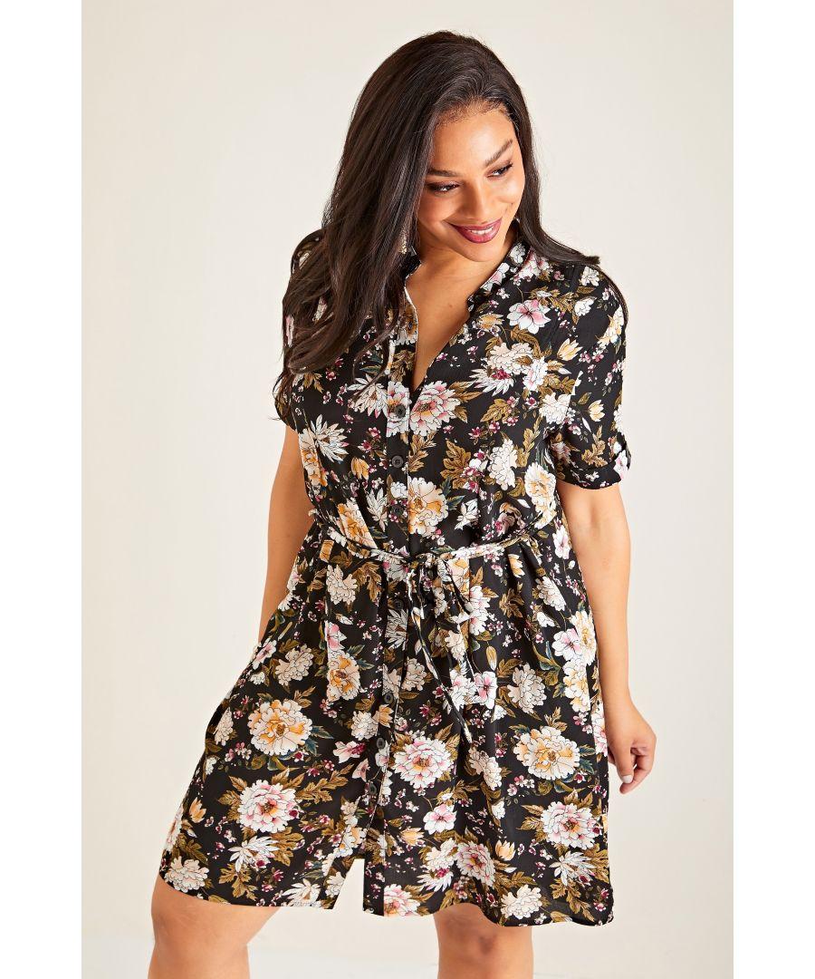 Image for Black Plus Size Japanese Print Shirt Dress