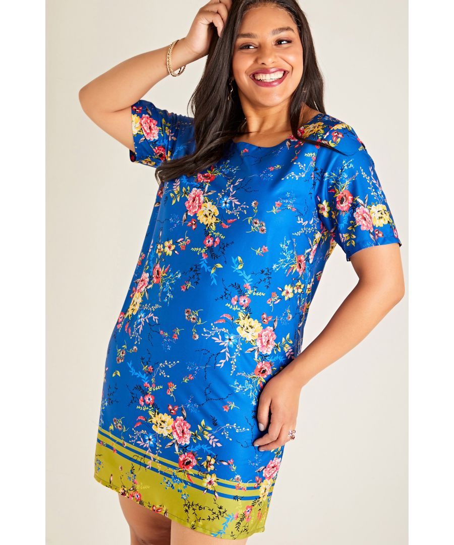 Image for Blue Yumi Curves Summer Floral Printed Tunic Dress