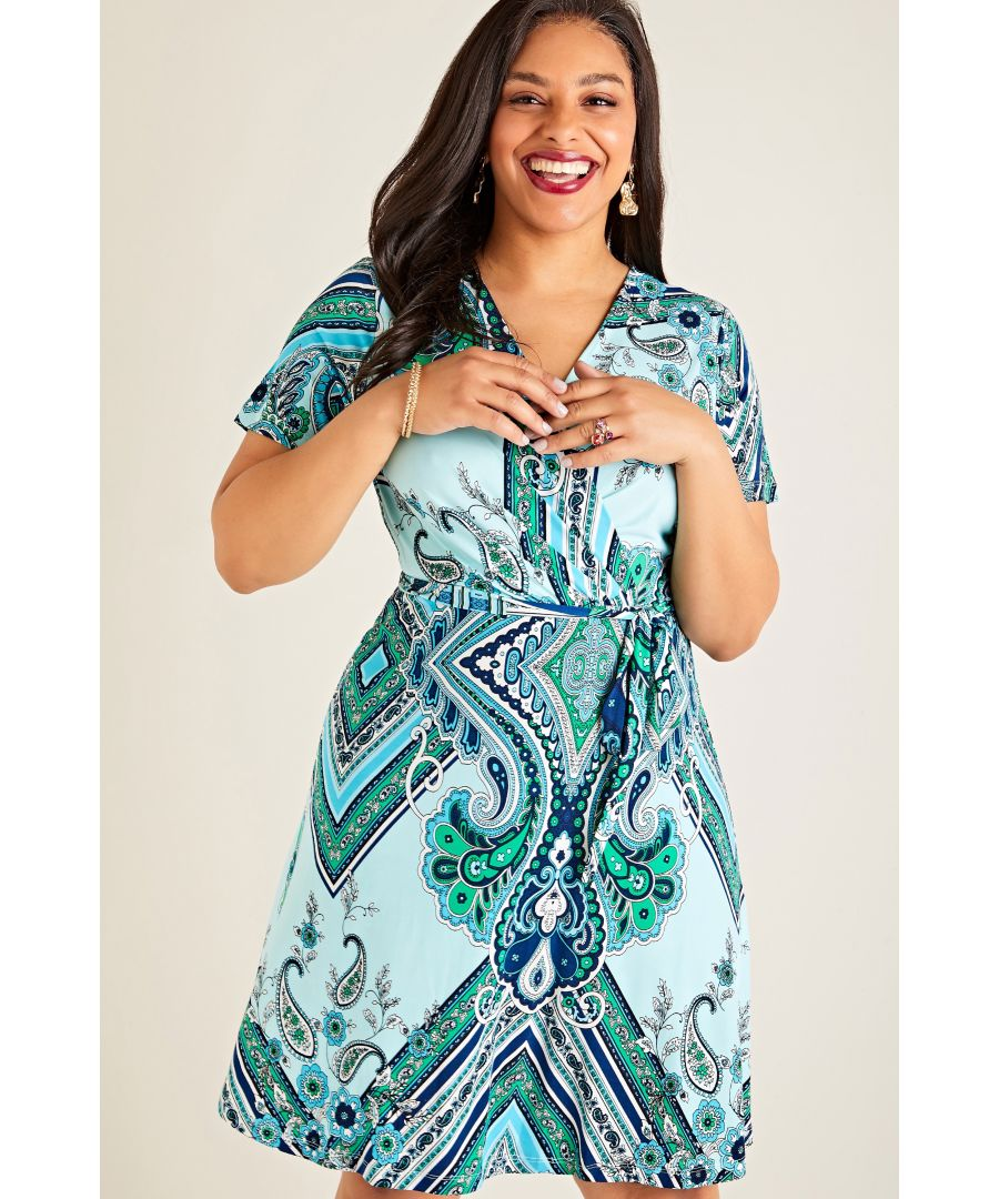Image for Blue Plus Size Paisley Scarf Print Wrap Dress