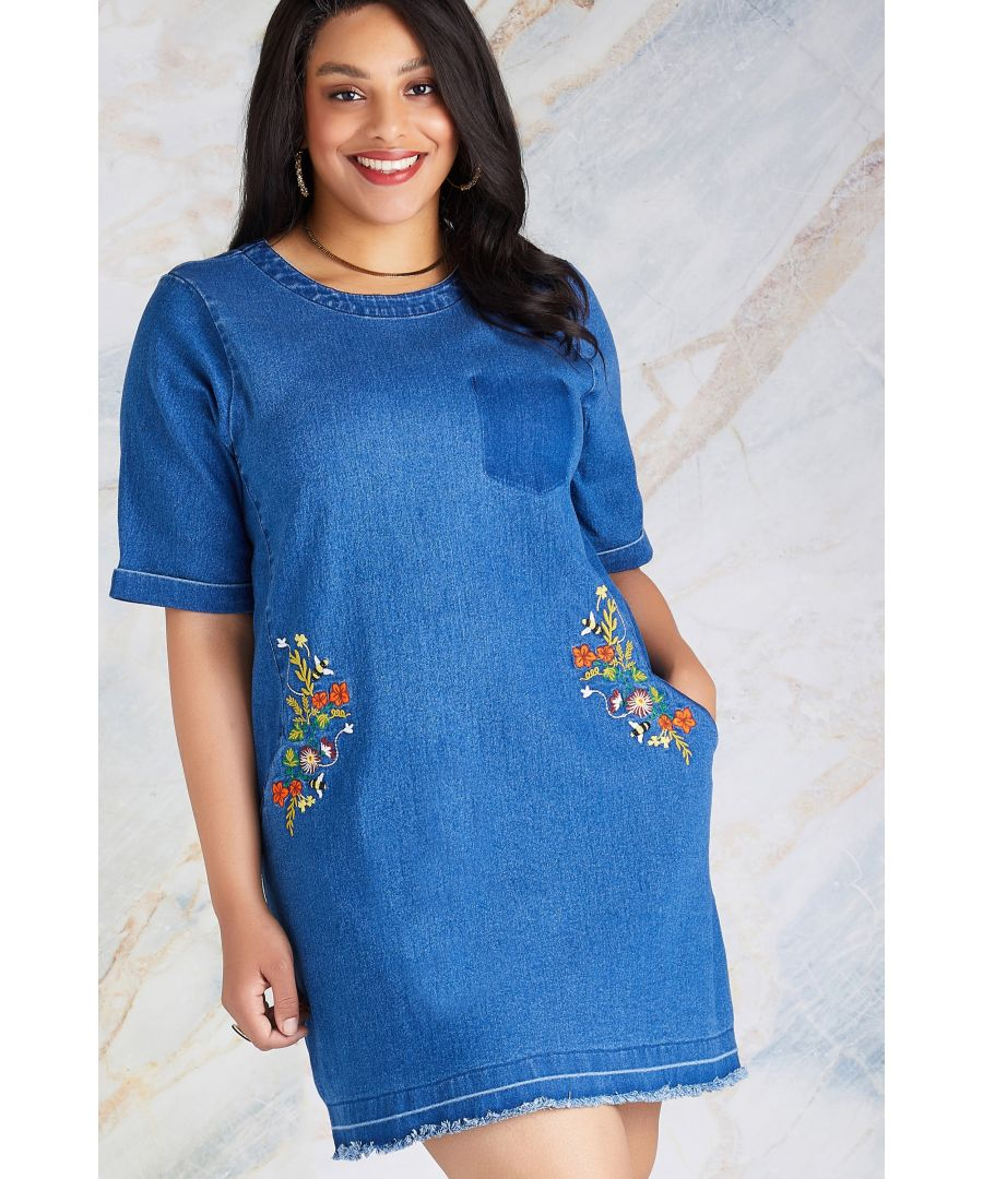 Image for Bee Plus Size Floral Embroidery Tunic Dress