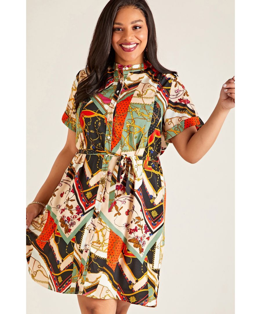 Image for Multi Plus Size Patchwork Chain Print Shirt Dress