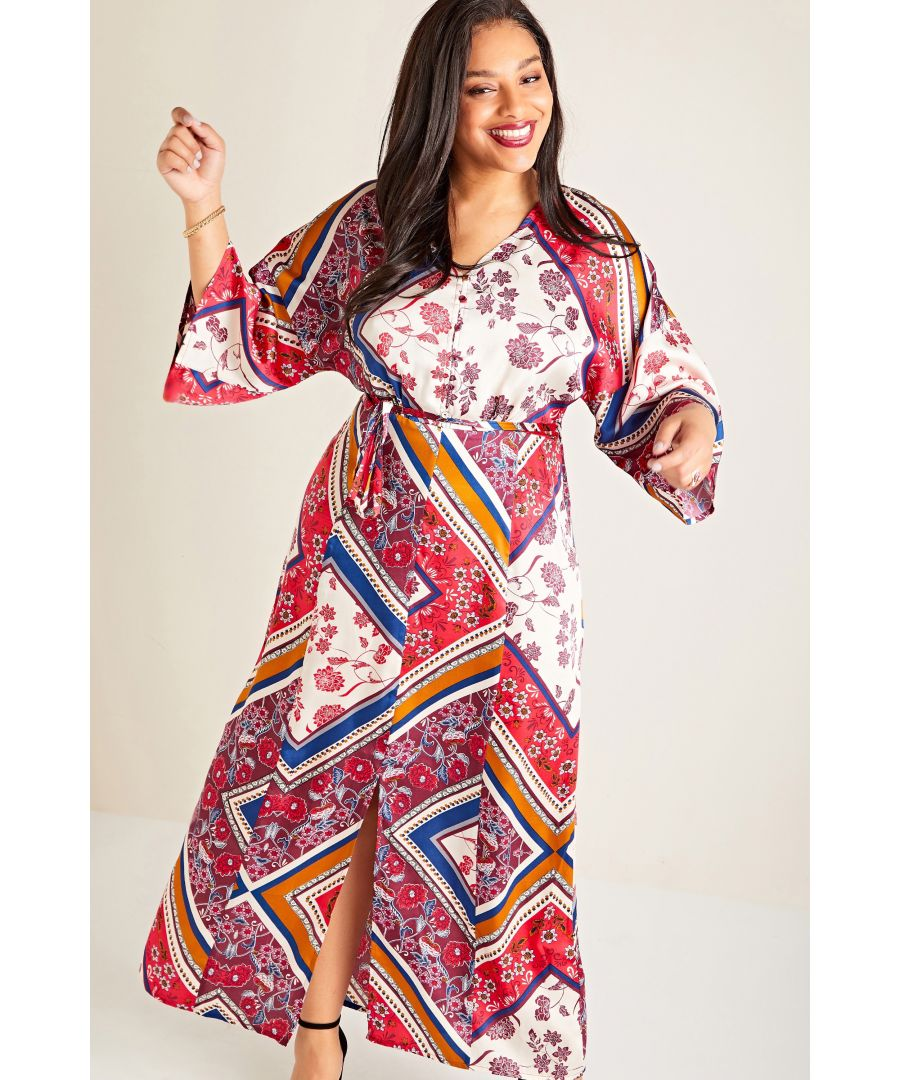 Image for Red Plus Size Indian Boho Maxi Dress