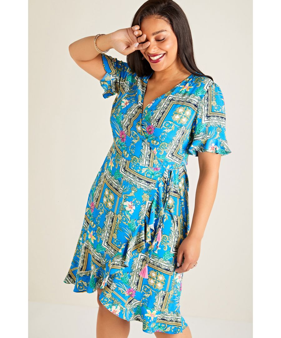 Image for Blue Plus Size Flower Scarf Print Wrap Dress With Frill