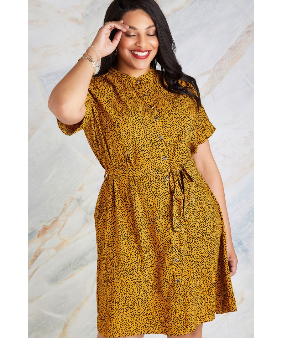 Image for Mustard Plus Size Animal Spot Print Shirt Dress