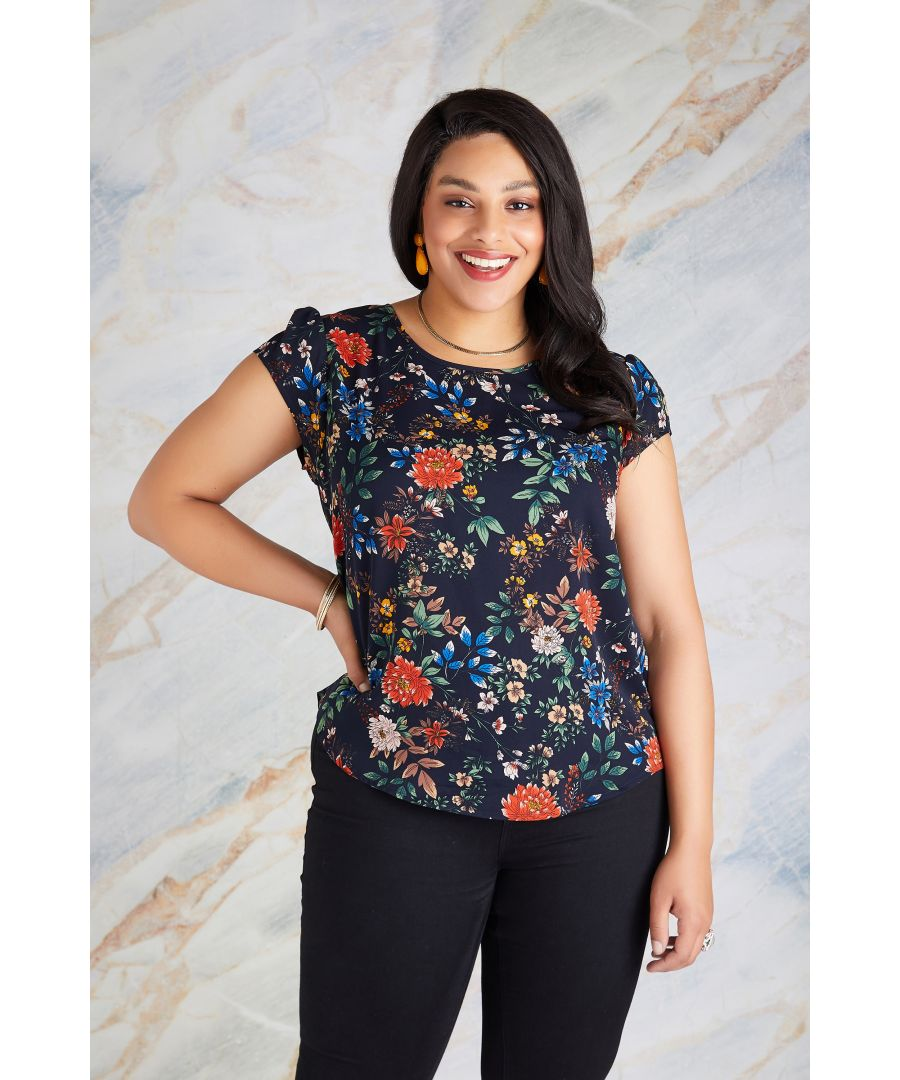 Image for Oriental Print Top With Lace Back