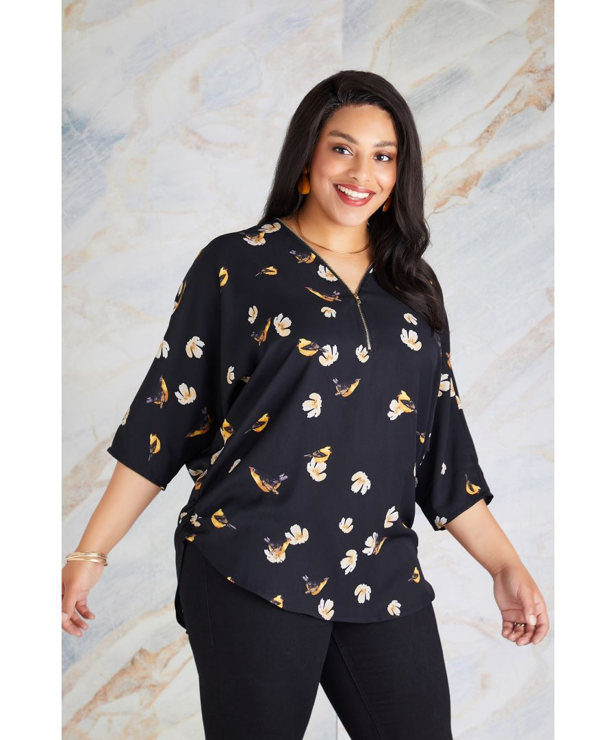 Image for Bird Print Zip Top