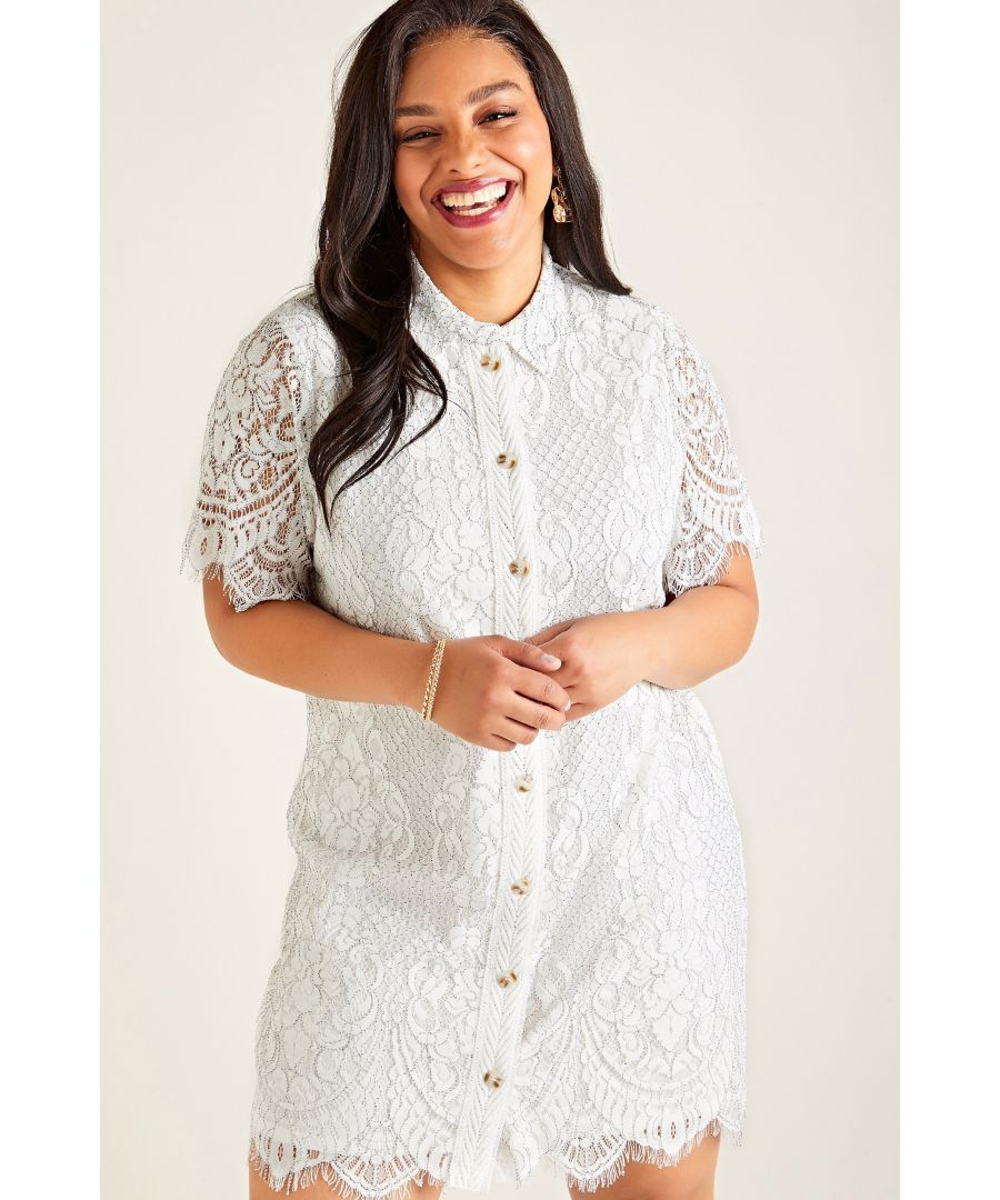 Image for White Plus Size Corded Lace Shirt Dress
