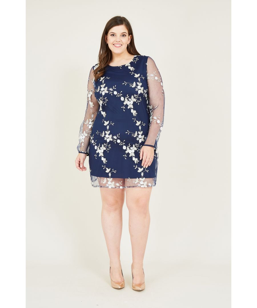 Image for Yumi Curve Navy Embroidered Lace Mesh Tunic