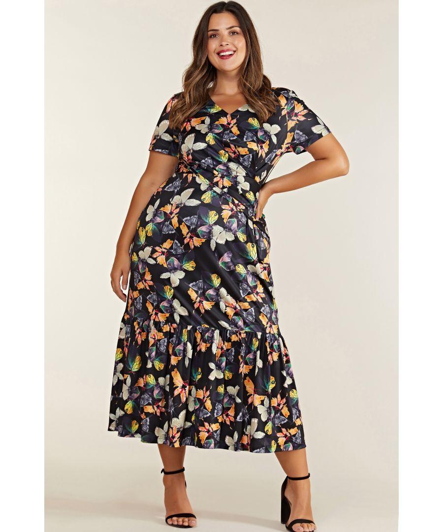 Image for Black Plus Size Butterfly Printed Frill Hem Midi Dress