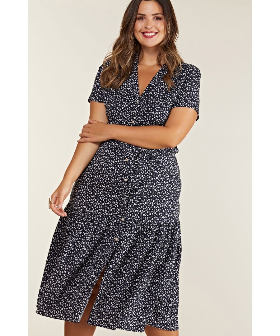 Image for Navy Plus Size Ditsy Floral Midi Dress