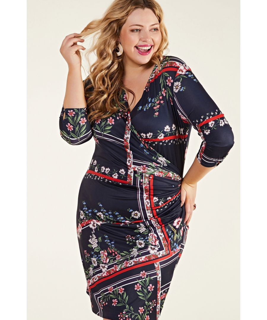 Image for Navy Plus Size Ruched Floral Navy Scarf Print Dress
