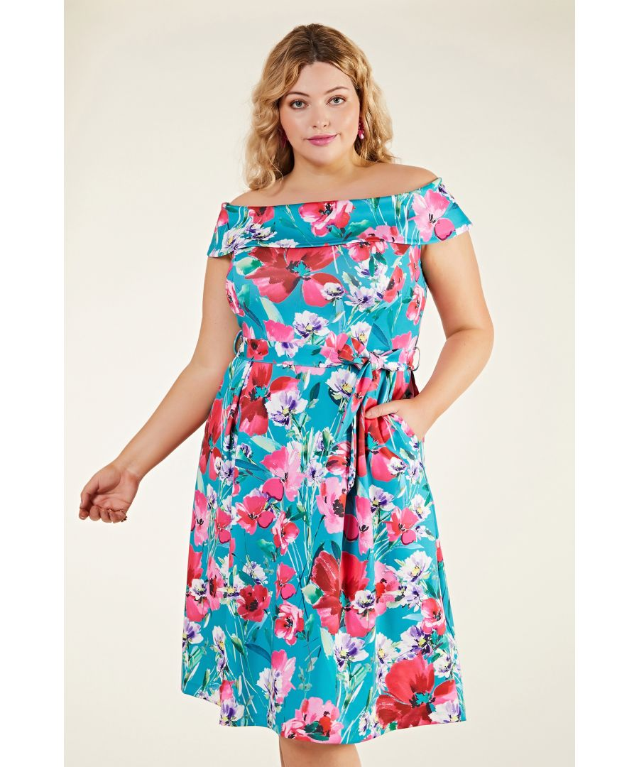 Image for Poppy Print Scuba Bardot Dress
