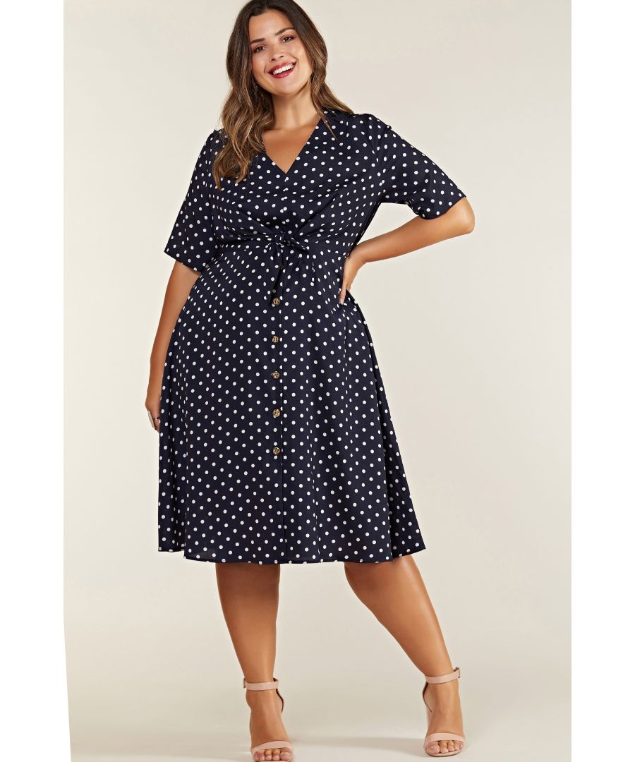 Image for Navy Plus Size Spot Tie Knot Button Detail Dress