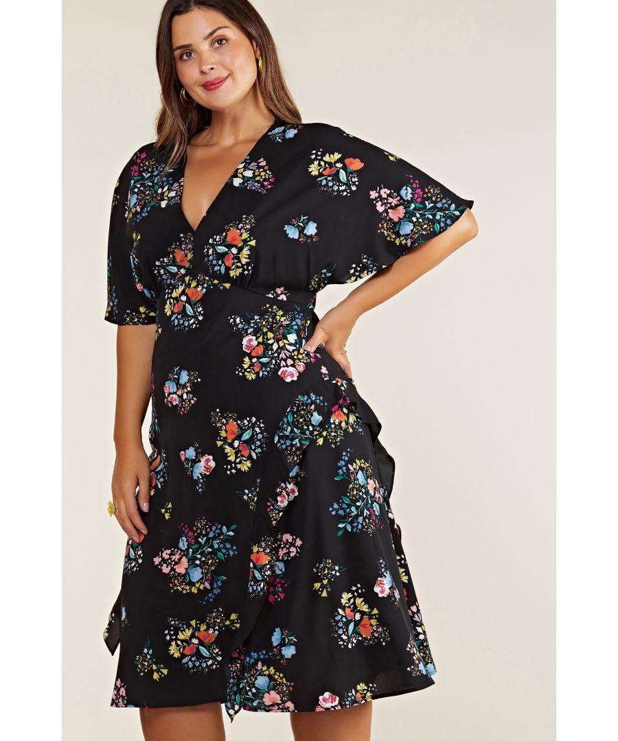 Image for Black Plus Size Spring Time Floral Print Kimono Dress