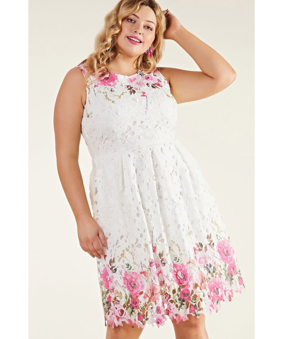 Image for Ivory Plus Size Floral Mirror Lace Dress