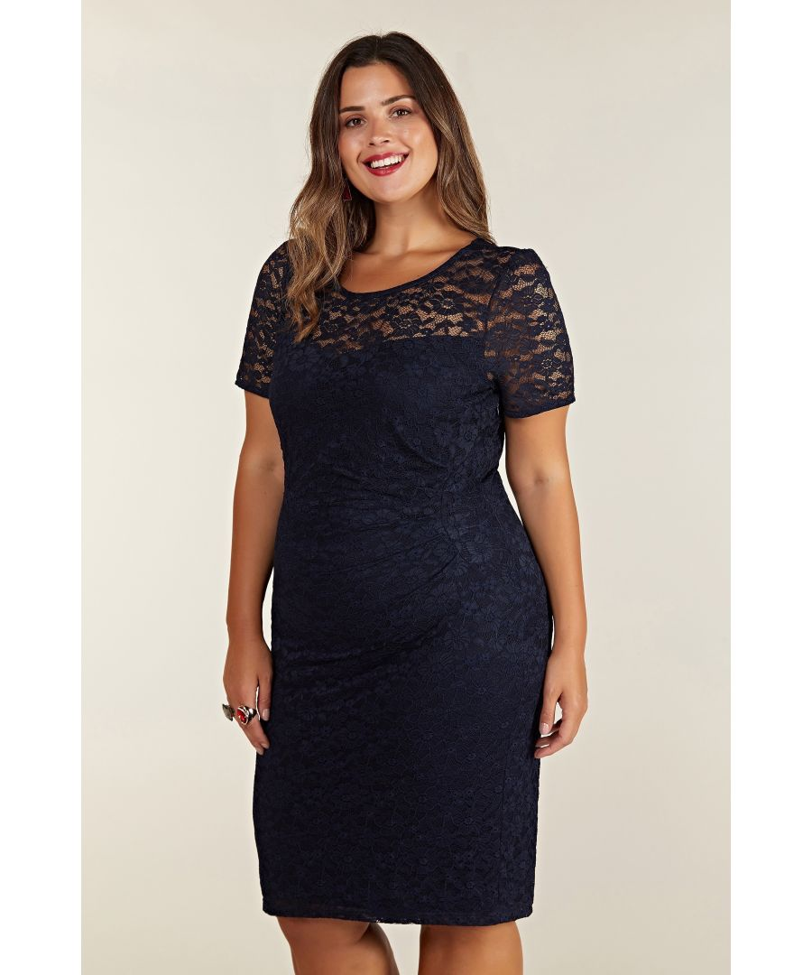 Image for Navy Lace Ruched Dress