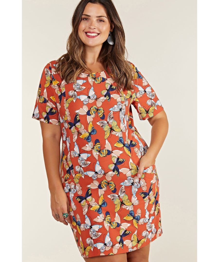 Image for Rust Plus Size Butterfly Tunic With Pocket Detail