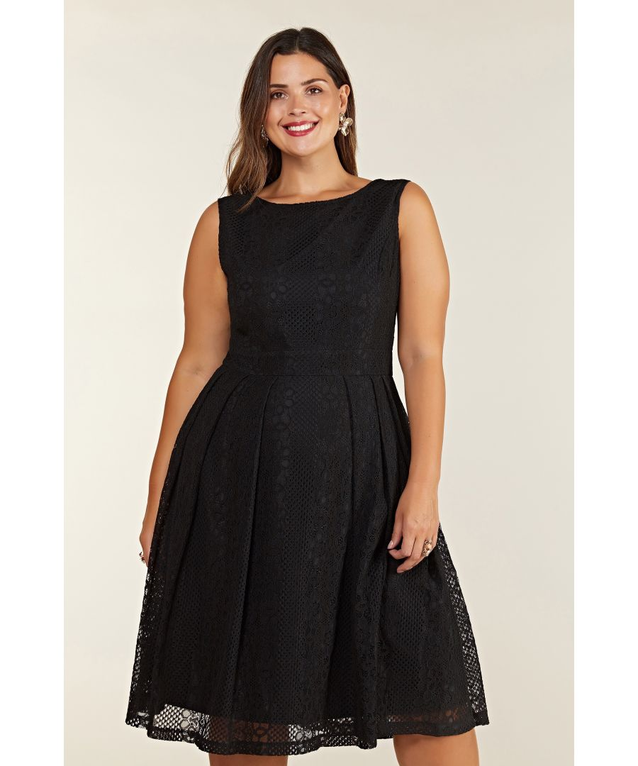 Image for Black Plus Size Fit And Flare Pleated Lace Dress