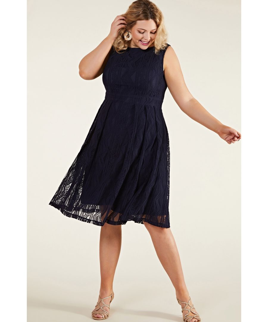 Image for Navy Plus Size  Fit And Flare Pleated Lace Dress