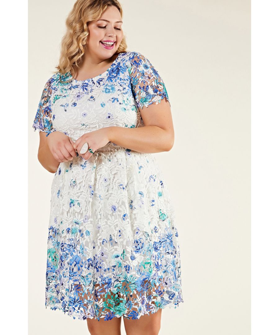 Image for Ivory Plus Size Butterfly Lace Party Dress