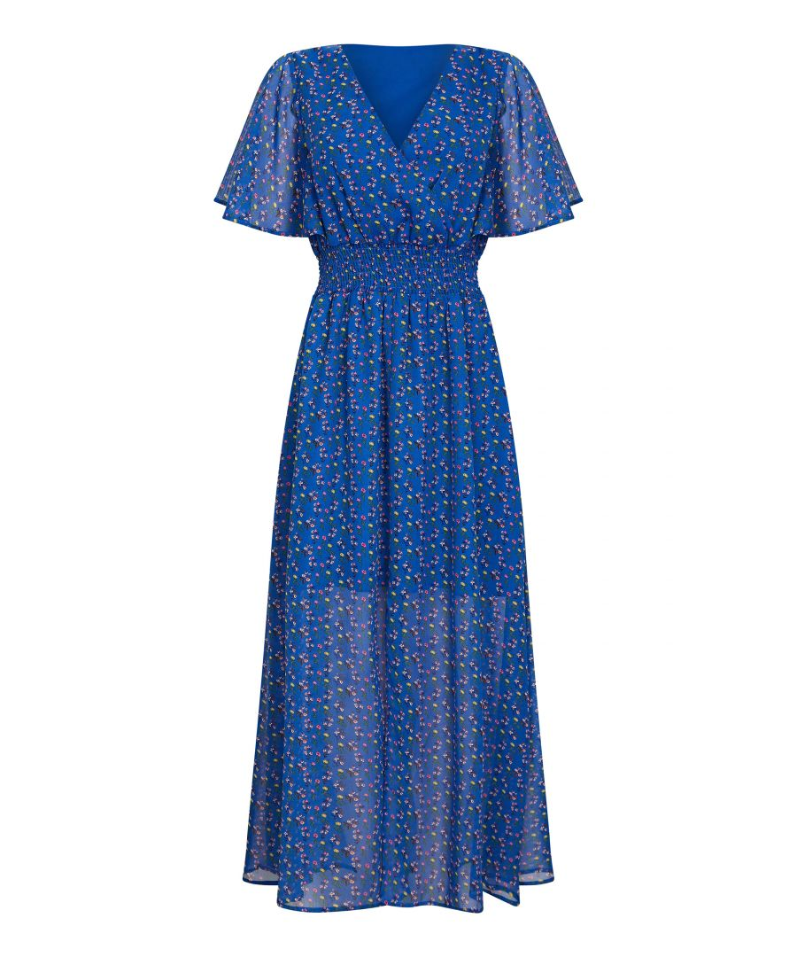 Image for Ditsy Print Ruched Maxi Dress